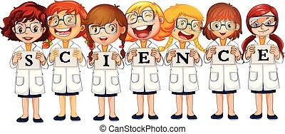 科学, 単語, コート, 女の子
