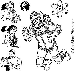 科学, 型, ベクトル, グラフィックス
