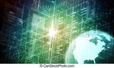 科学, 概念, データ, 大きい, インターネット