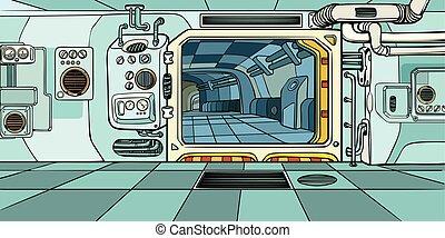 科学, 船, スペース, corridor., フィクション