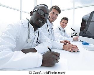 科學家, 現代, 組, 實驗室, 工作