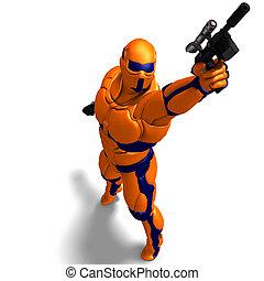 科幻小說, 男性, 字, 在, 未來, suit., 3d, rendering, 由于, 裁減路線, 以及, 陰影,...