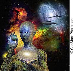 科幻, 場景, 由于, 機器人