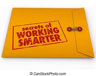 秘密, の, 仕事, smarter, 黄色の包絡線, いかに, へ, アドバイス, 情報