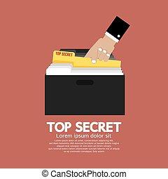 秘密, 文件夾, 在, 手。
