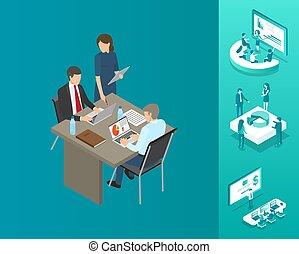 秘書, ベクトル, blockchain, イラスト, 上司