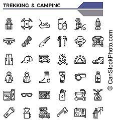 移住, アイコン, set., キャンプ