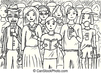移動式 電話, グループ, 人々