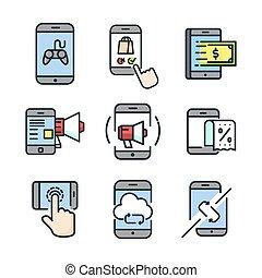 移動式 電話, セット, 色, アイコン