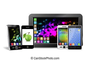 移動式 電話, タブレットの pc, そして, player.