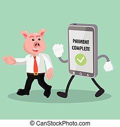 移動式 電話, 歩くこと, ビジネス, 豚