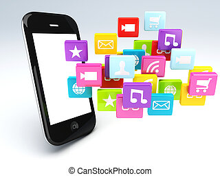 移動式 電話, app, wifi, 3d