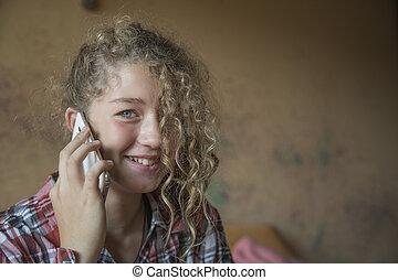 移動式 電話, redhead, ティーネージャー, 話し