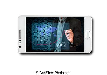 移動電話, 屏幕, 透過, 事務