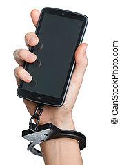 移動電話, 癮, concept., smartphone, 以及, 手銬, 在, 手, 被隔离, 上, white.