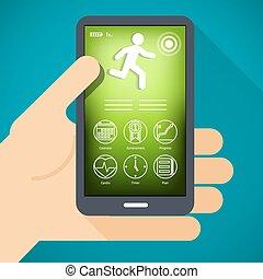 移動電話, app, 手, 健身