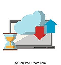 移動, コンピュータ, 雲, 砂時計