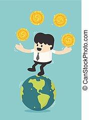 移動, ビジネスマン, ビジネス, 成功した, 概念, コイン。