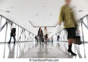 移動, 人群, 在, 走廊