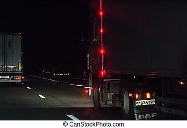 移動, 卡車, 夜晚