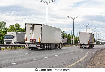 移動, 卡車, 路