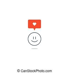 移情作用, 爱, 概念, 感到, 激情, 微笑, emoji
