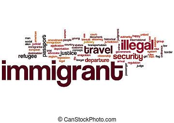 移民, 単語, 雲, 概念