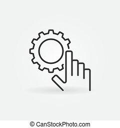 稀薄, 概念, 齿轮, 图标, 手, 矢量, 线