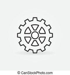 稀薄, 概念, 齿轮, 图标, 矢量, 轮子, cog, 线
