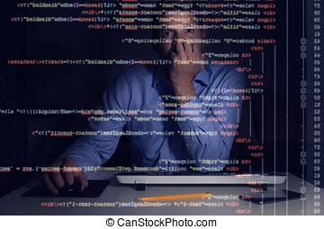 程序员, 工作, 带, 编写程序, 代码, 在上, 计算机屏幕, 在中, 黑暗的房间