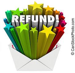 税, お金, リターン, 払い戻し, メール封筒, 単語