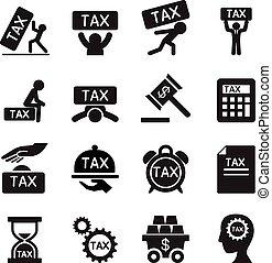 税, ベクトル, セット, イラスト, アイコン