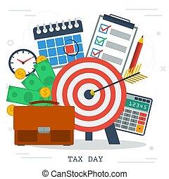 税, 日, お金, カレンダー, スタイル, 平ら, 概念