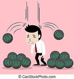 税, 負債, 悲しげに, ビジネスマン