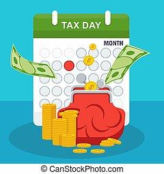 税, concept., 財布, お金, 日, カレンダー, 山
