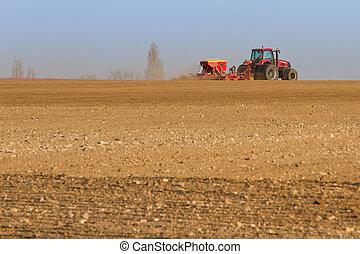 種まき, フィールド, 種, 耕作, 農業, トラクター