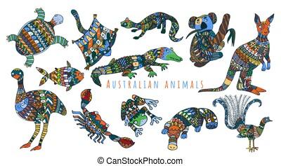 種族, セット, オーストラリア人, カラフルである, animals.