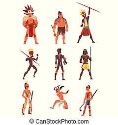 種族, 伝統的である, 背景の 人々, セット, 武装させられた, アメリカ人, メンバー, 原生, ベクトル, 種族,...
