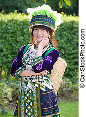 種族, 女の子, 衣装, 丘, アジア人