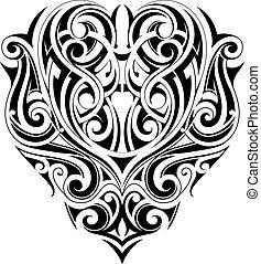 種族, 心, 入れ墨, 形, 芸術