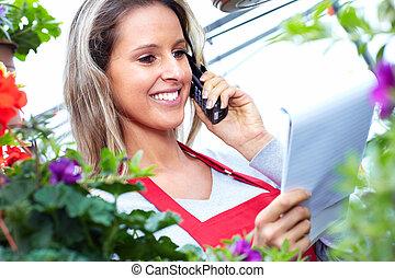 種花人, 婦女, 花, 工作, shop.