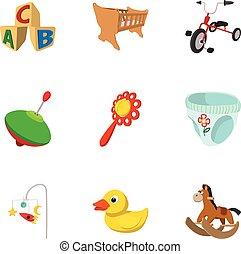 種類, アイコン, セット, スタイル, おもちゃ, 漫画