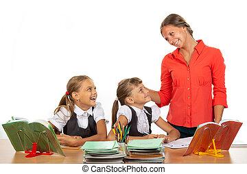 種類, モデル, 生徒, コミュニケートする, 机, 教師