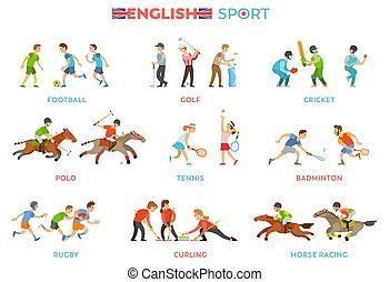 種類, 国民, 伝統的である, 有名, 英語, スポーツ