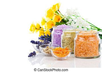 種類, 隔離された, 浴室, 花, 様々,  backg, 白, 塩