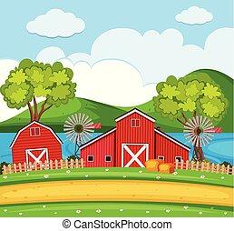 穀倉, 農場, 渦輪, 場景, 風, 紅色