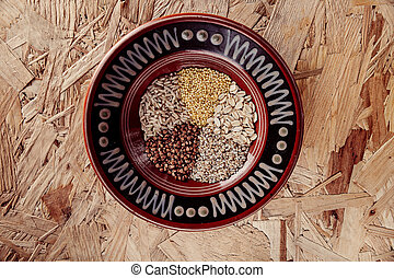 穀物, 米, 小米, 燕麥, 集合, 玉米, 彙整, 五穀