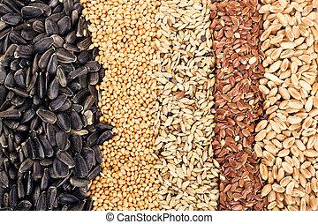 穀粒, 小麦, ひまわり, 亜麻, ライ麦, 大麦, 種, シリアル, オート麦, :