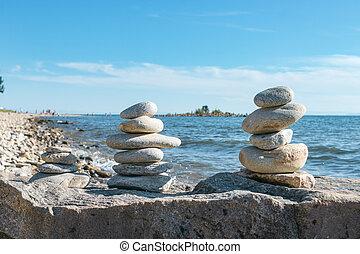 積み重ねられた, ピラミッド, 海景, 景色, 石, 概念, baikal, 岩, 調和, 湖, 浜, バランス