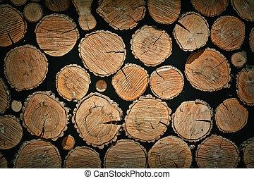 積み重ねられた, 木材を伐採する, 背景